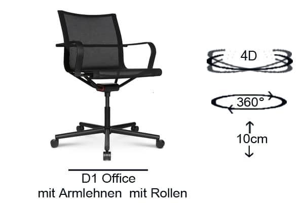 D1 Office mit Armlehnen und mit Rollen.