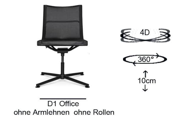 D1 Office ohne Armlehnen und ohne Rollen