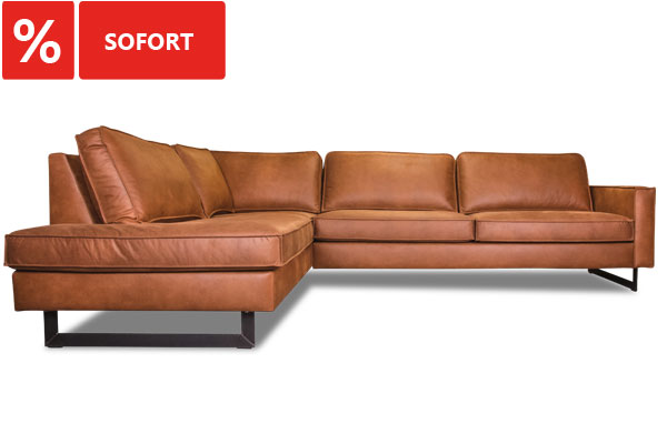 Industrielook Ecksofa in Cognac sofort.