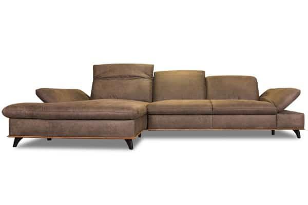 modernes Ecksofa mit Sitztiefenverstellung und Schlaffunktion