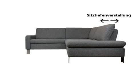 ecksofa mit sitztiefenverstellung und schlaffunktion sofadepot. Black Bedroom Furniture Sets. Home Design Ideas