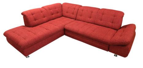 Rotes Sofa mit verstellbaren Rückenlehnen.