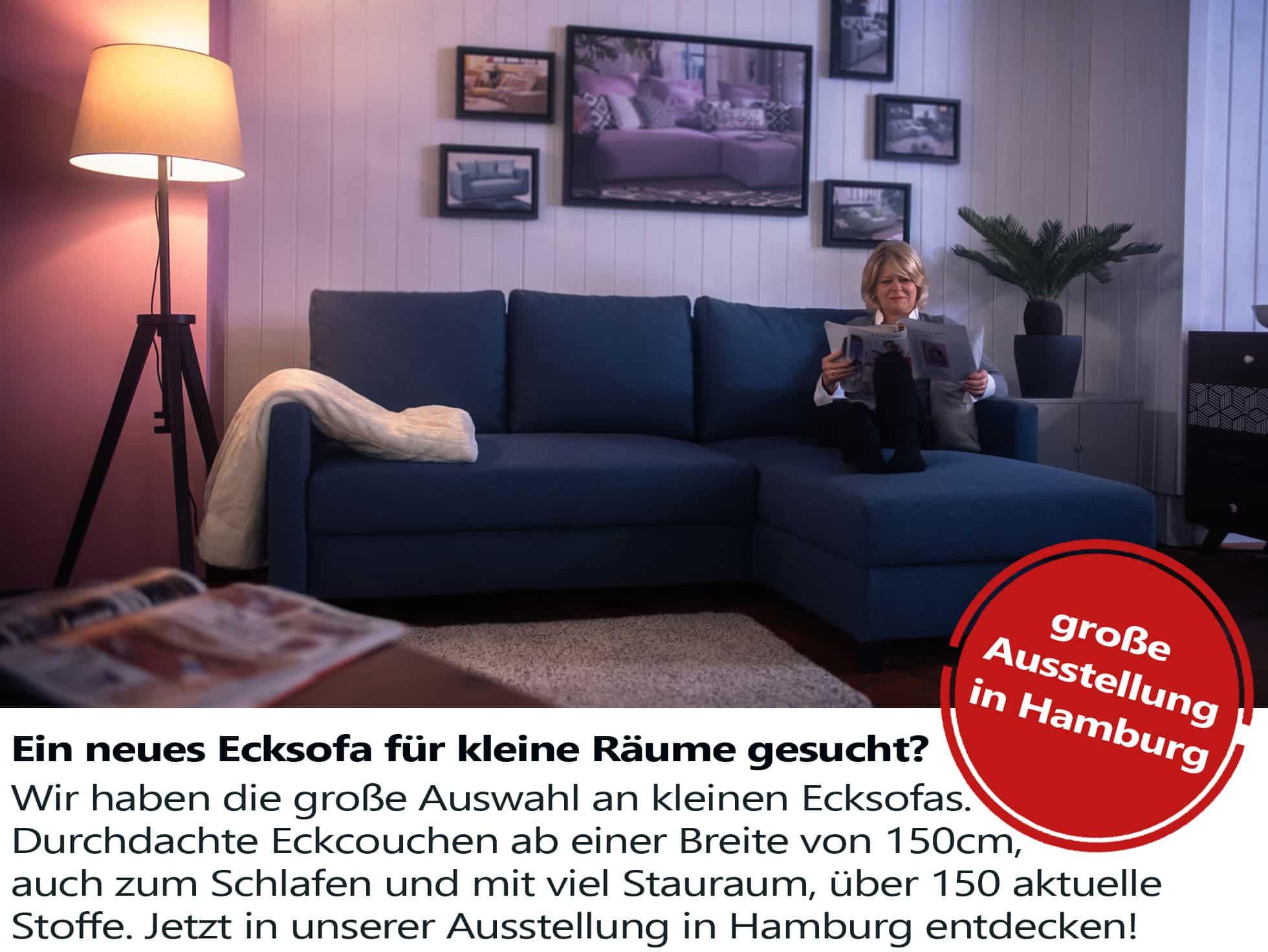 Viele kleine Ecksofas im Sofa Depot Hamburg.