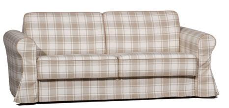 Kariertes Sofa im Landhausstil.