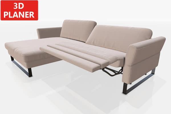 Breiter TV-Sessel im Ecksofa.