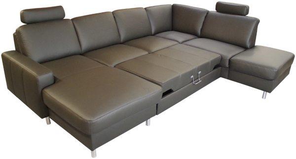 U Form Bettfunktion Leder Sofadepot