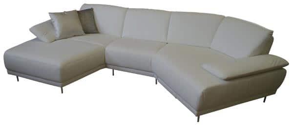 Designer Sofa in weissem Leder.