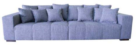 Graues XXL Sofa mit vielen Kissen.